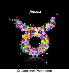 carino, modello, farfalle, -, toro, segno, zodiaco