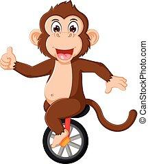 carino, monocycle, scimmia, circo, su, cartone animato