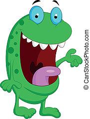 carino, mostro verde, cartone animato