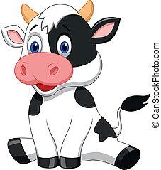 carino, mucca, cartone animato, seduta