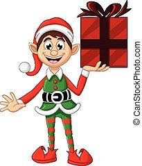 carino, natale, elfo, tenere regalo