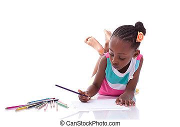 carino, nero, americano africano, piccola ragazza, disegno,...