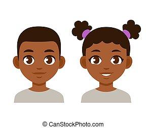 carino, nero, cartone animato, bambini