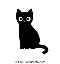 carino, nero, cartone animato, gatto