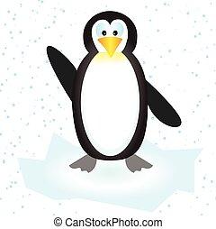 carino, neve, illustrazione, vettore, floe ghiaccio, pinguino