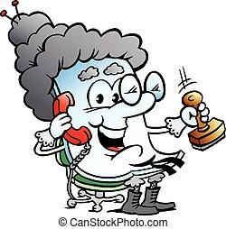 carino, nonna, carta, mascotte