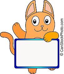 carino, o, divertente, vuoto, cartone animato, spazio, zenzero, tuo, content., gatto, copia, testo, bandiera, segno, arancia, picture., vettore