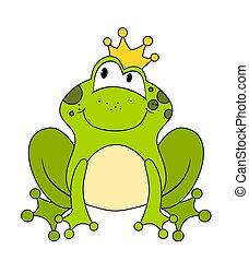 carino, o, isolato, rana, principessa, bianco, principe, cartone animato