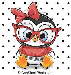 carino, occhiali, cartone animato, rosso, pinguino