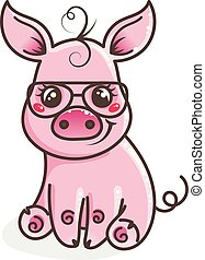 carino, occhiali da sole, maiale, bambino, cartone animato, fresco