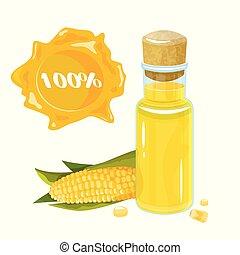 carino, olio, colorito, corn., sano, granaglie, cottura, isolato, mano, bottiglia, bottle., disegnato