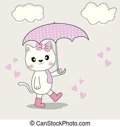 carino, ombrello, stagione, stivali, gatto, autunno, goes.