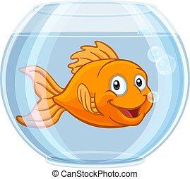 carino, oro, carattere, pescare ciotola, pesce rosso, cartone animato