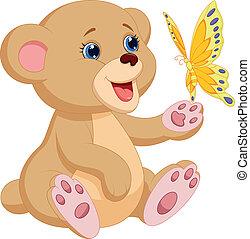 carino, orso bambino, cartone animato, gioco, con