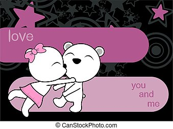 Baciare coppia cartone animato orso coppia illustrazione
