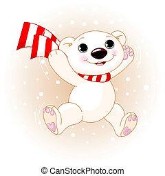 carino, orso polare, saltare