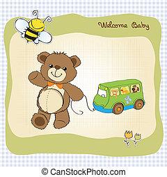 carino, orso teddy, doccia, bambino, scheda