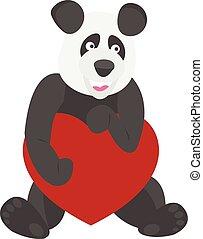 carino, panda, presa a terra, cuore