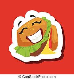 carino, panino, adesivo, hamburger, fondo, sorridente, emoji, rosso, felice