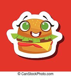 carino, panino, adesivo, hamburger, fondo, sorridente, rosso, emoji