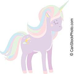 carino, pastello, unicorno, illustrazione, vettore, viola, ...