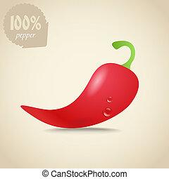 carino, pepe, illustrazione, caldo fresco, rosso