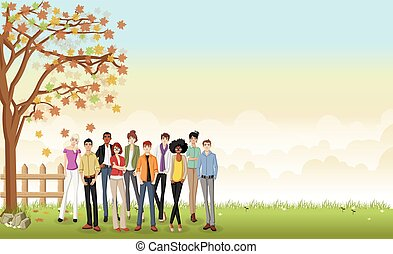 carino, persone., erba, cartone animato, paesaggio
