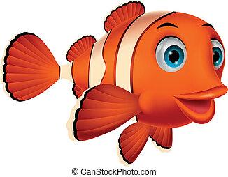 carino, pesce pagliaccio, cartone animato