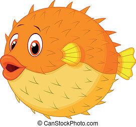 carino, pesce puffer, cartone animato