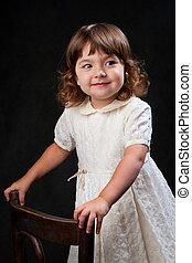 carino, piccola ragazza, con, capelli ricci