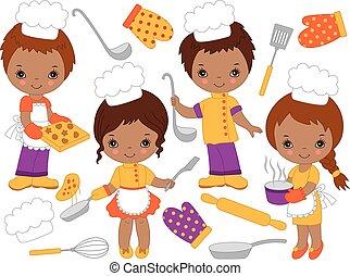 carino, piccoli chef, americano, vettore, africano