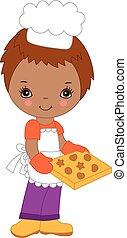 carino, piccolo chef, americano, vettore, africano