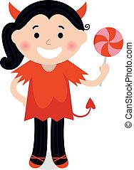 carino, piccolo diavolo, ragazza, in, rosso, costume, isolato, bianco
