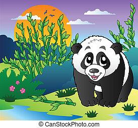 carino, piccolo, panda, in, foresta bambù