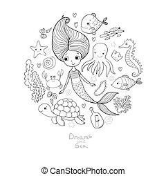 carino, piccolo pesce, corazze marittime, set., alghe, theme., divertente, starfish, vario, nota, bottiglia, illustrazioni, cartone animato, sirena, marino, crab.