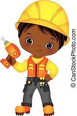 carino, piccolo ragazzo, americano, vettore, perforazione, africano