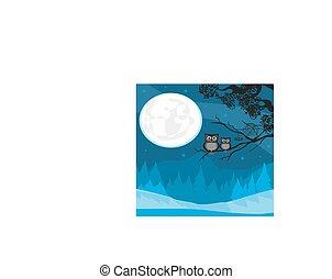 carino, pieno, halloween, illustrazione, luna, gufi