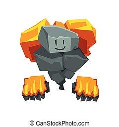 carino, pietra, fuoco, carattere, mostro, illustrazione, fantasia, vettore, cartone animato, creatura