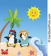 carino, pinguino, cartone animato, holi, estate