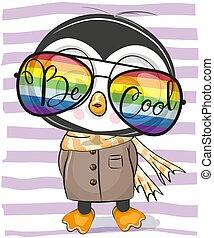 carino, pinguino, occhiali, sole