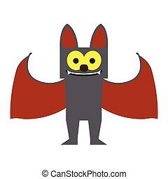 carino, pipistrello, halloween, cartone animato, carattere