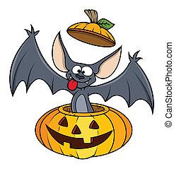carino, pipistrello, halloween zucca, divertente