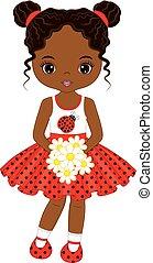 carino, poco, americano, vettore, africano, ragazza, fiori