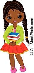 carino, poco, americano, vettore, libri, africano, ragazza