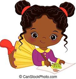 carino, poco, artista, americano, vettore, africano, ragazza, painting.