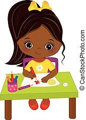 carino, poco, artista, drawing., americano, vettore, africano, ragazza