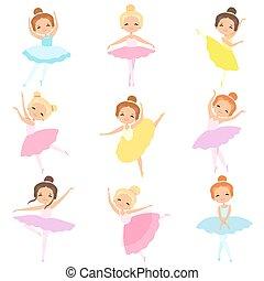 carino, poco, ballerine, ballo, set, tutu, ballerini, ragazze, balletto, illustrazione, vettore, caratteri, bello, vestire