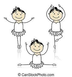 carino, poco, ballerini, balletto, disegno, tuo