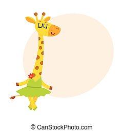 carino, poco, ballerino, carattere, balletto, tutu, giraffa, gonna, felice
