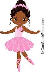 carino, poco, ballo, ballerina, americano, vettore, africano